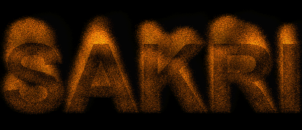 screenshot of a canvas particles fire text effect demo